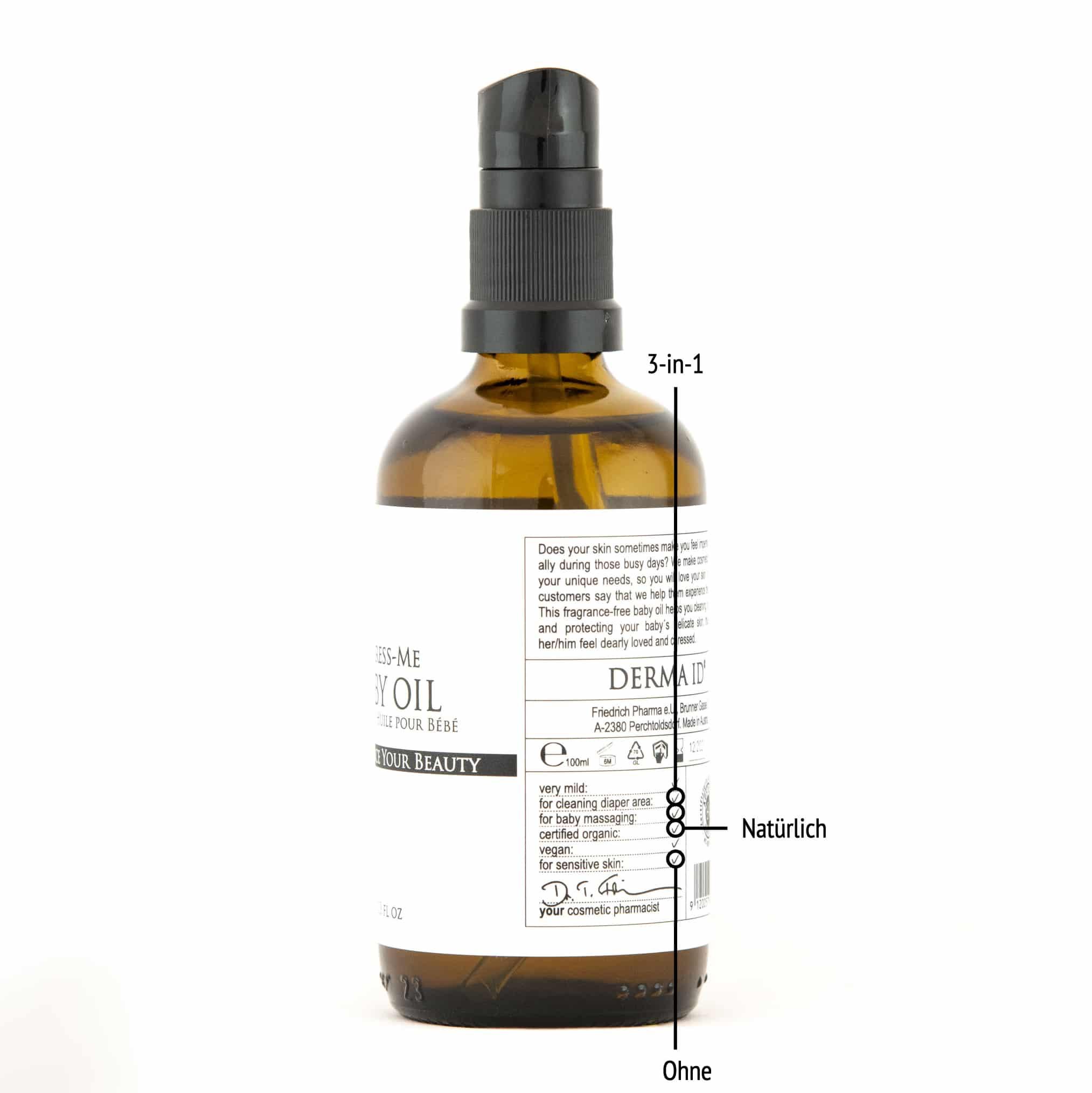 Derma ID Caress-Me Baby-Oil Babyöl hilft dir, weil es 3 Funktionen in 1 hat, natürlich und ohne Parfum, Alkohol, Parabene, Silikone und Mikroplastik ist