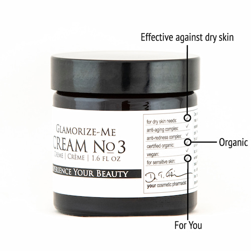 Derma ID Glamorize-Me Cream No. 3 face cream helps you because it is effective against dryness, organic and made especially for you