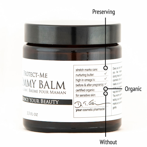 Derma ID Protect-Me Mommy Balm Pregnancy Balm helps you because it is organic, preserving and without synthetic additives or fragrances.